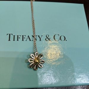 Authentic Tiffany two-tone flower necklace w box!